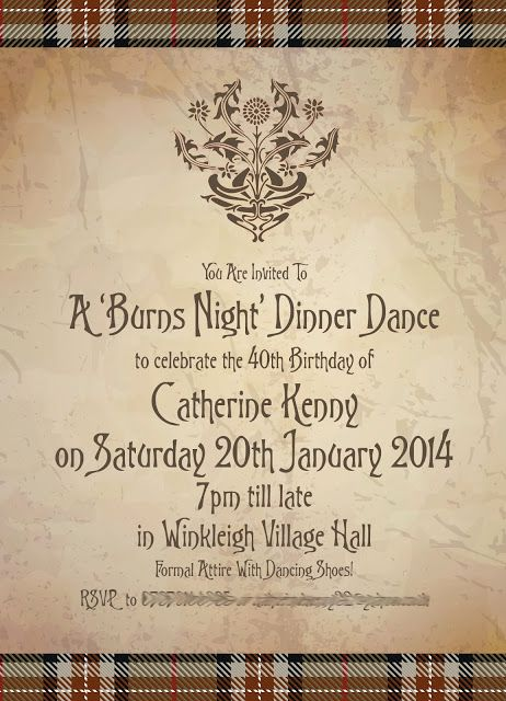 burns supper menu template - bespoke burns night party invitations from http