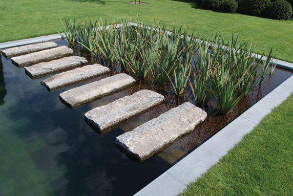außenarchitektur moderne gartengestaltung teich steinplatten, Garten und erstellen
