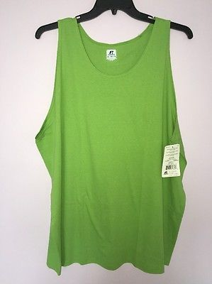 3910b80b93093 Russell Athletic Men 100% Cotton Sleeveless Tank Muscle Shirt Green 3XL NWT