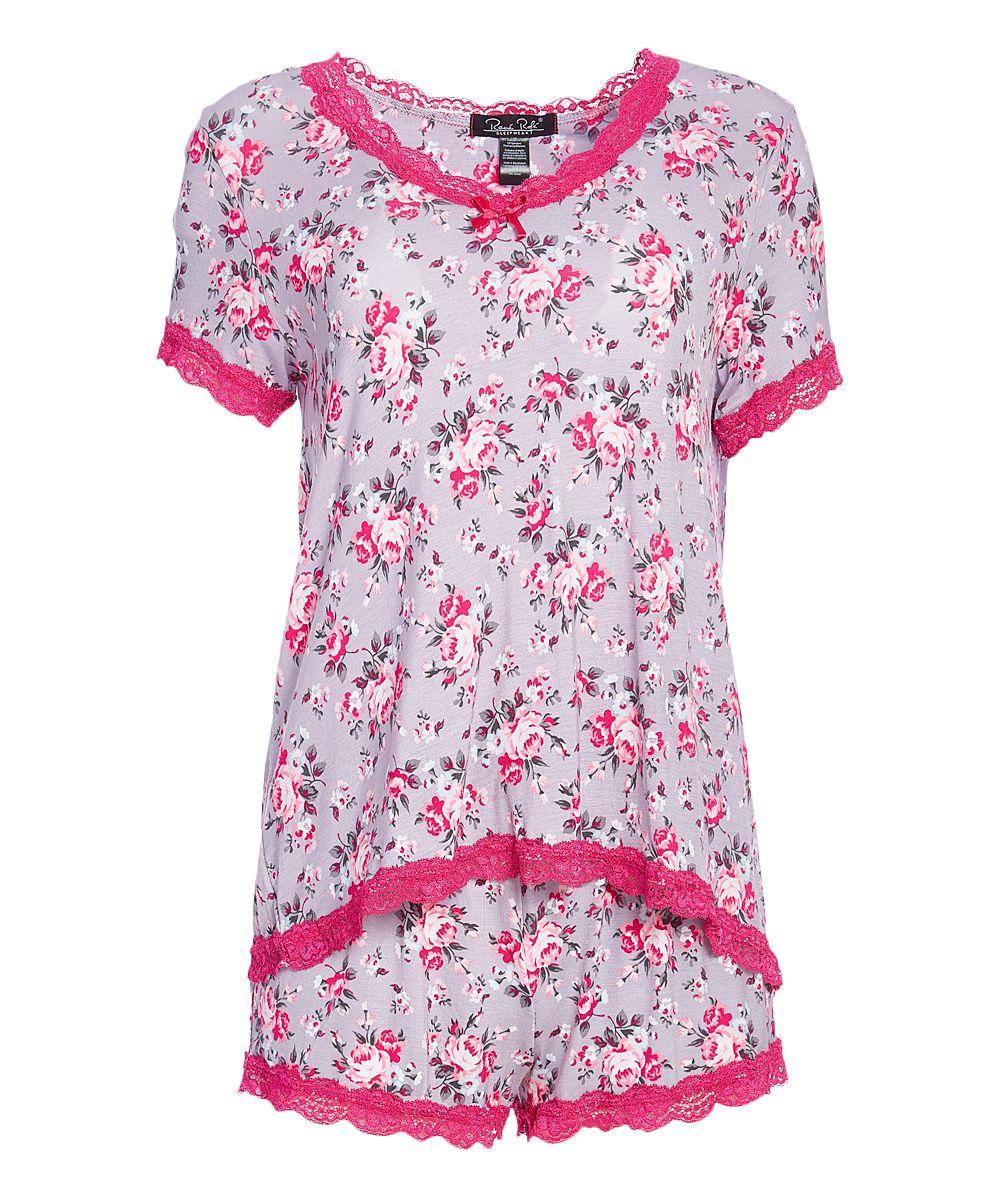 b28b554205 Gray   Pink Floral Sweet Sleep Pajama Shorts Set - Plus Too ...