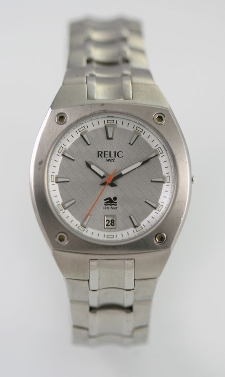 Relic Mens White Stainless Steel Silver Date Parts, Parts for Repair Only