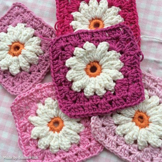 Crochet Daisy Granny Square Pattern Youtube Video Crochet Granny