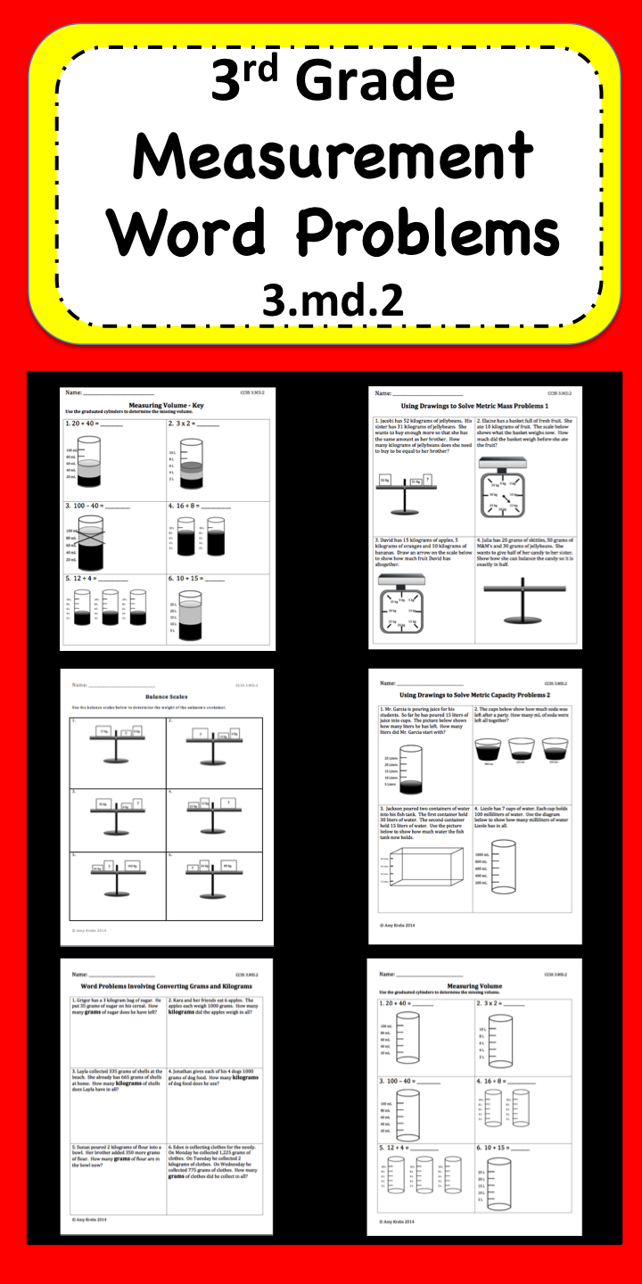 Measurement Word Problems Word problems, Math word