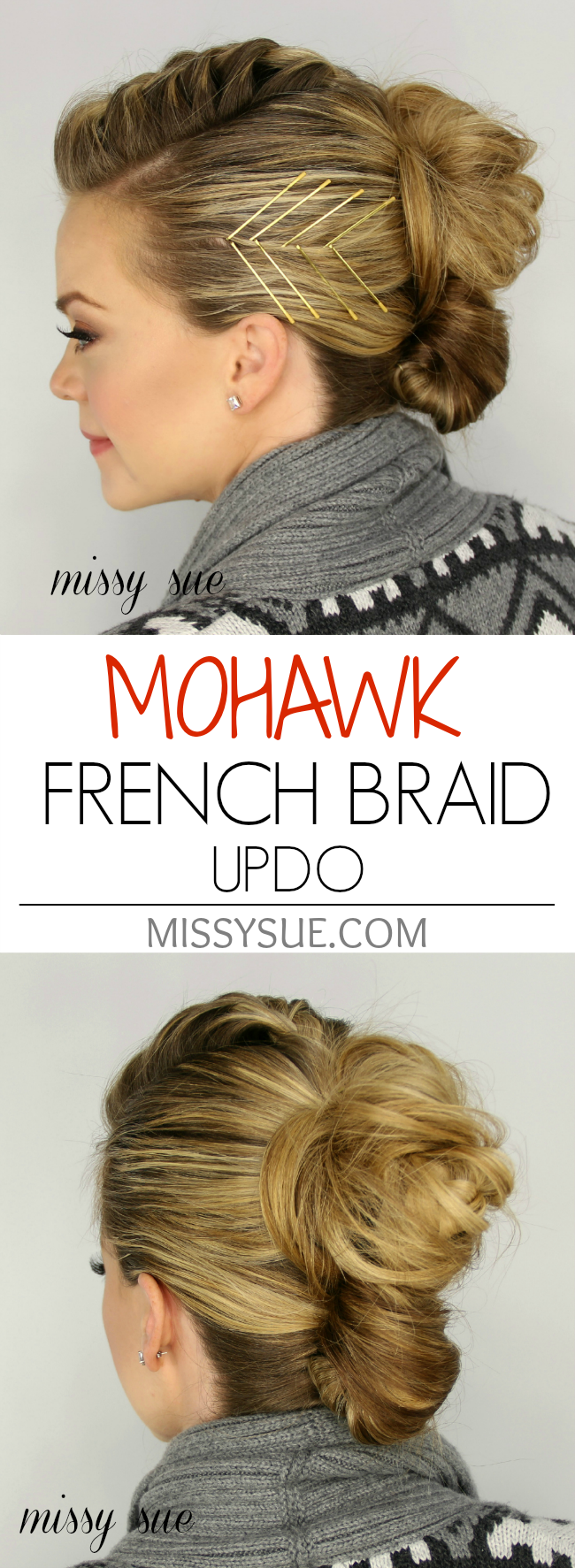 Mohawk french braid updo hairstyles pinterest french braid