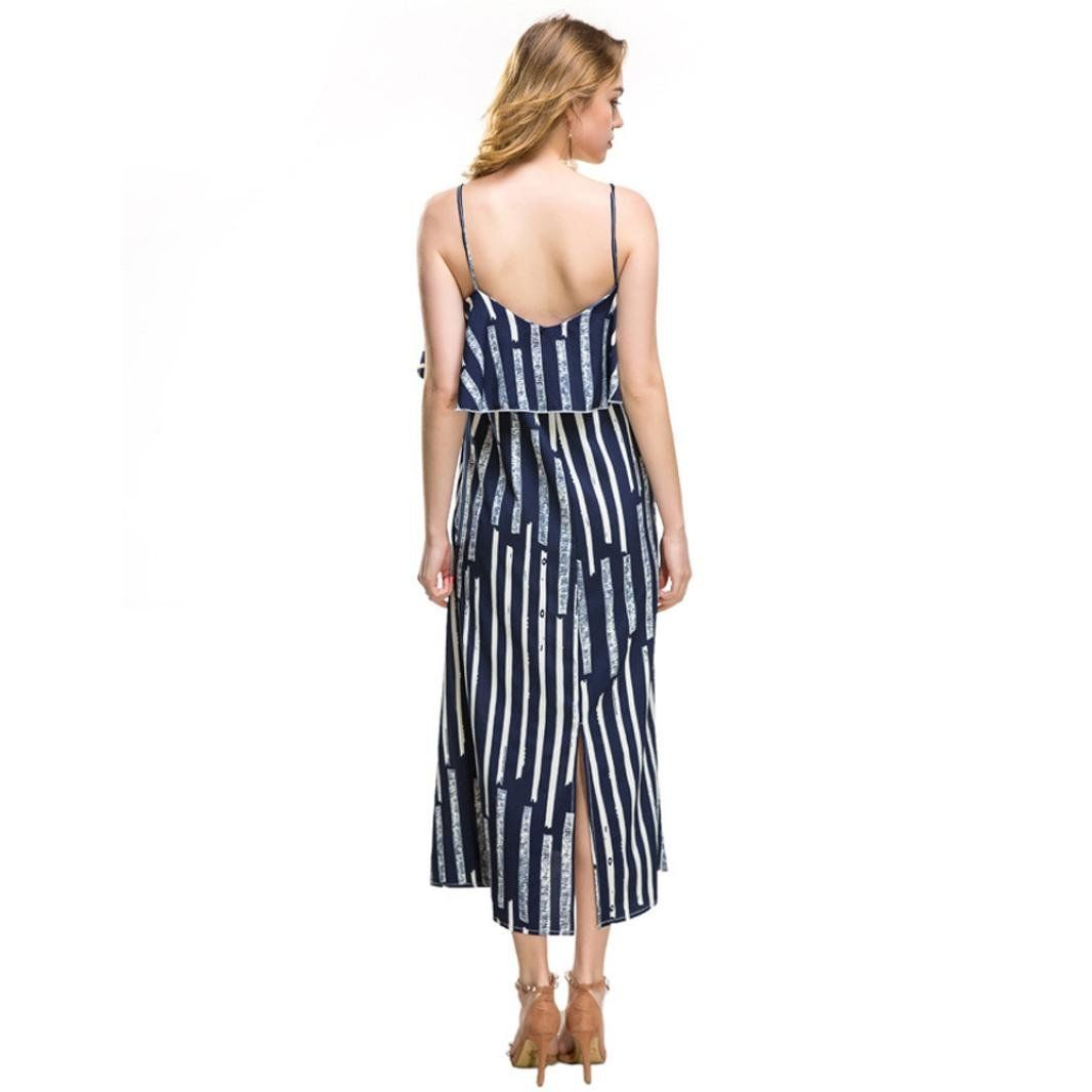 e3d8c9e2c2d89 Maternity Styles - DongDong Womens Summer Casual Lady Stripe VNeck Vest  Sleeveless Long Beach Dresses *** For more information, check out picture  web link.