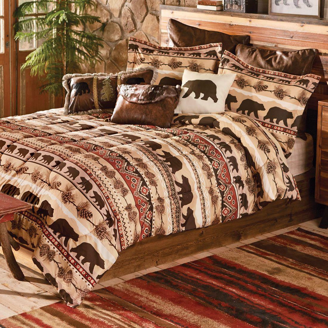 Mountainside Bear Bed Set Queen Rustic bedding, Duvet