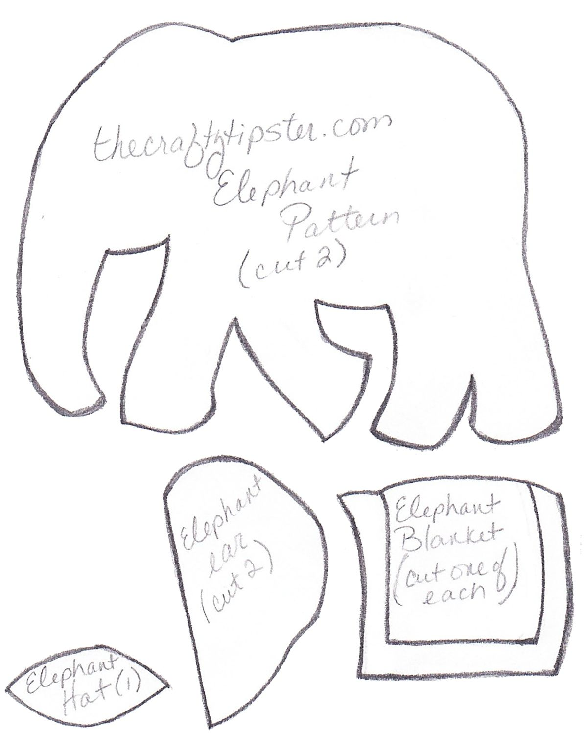 Felt elephant pattern with a decorated blanket and hat