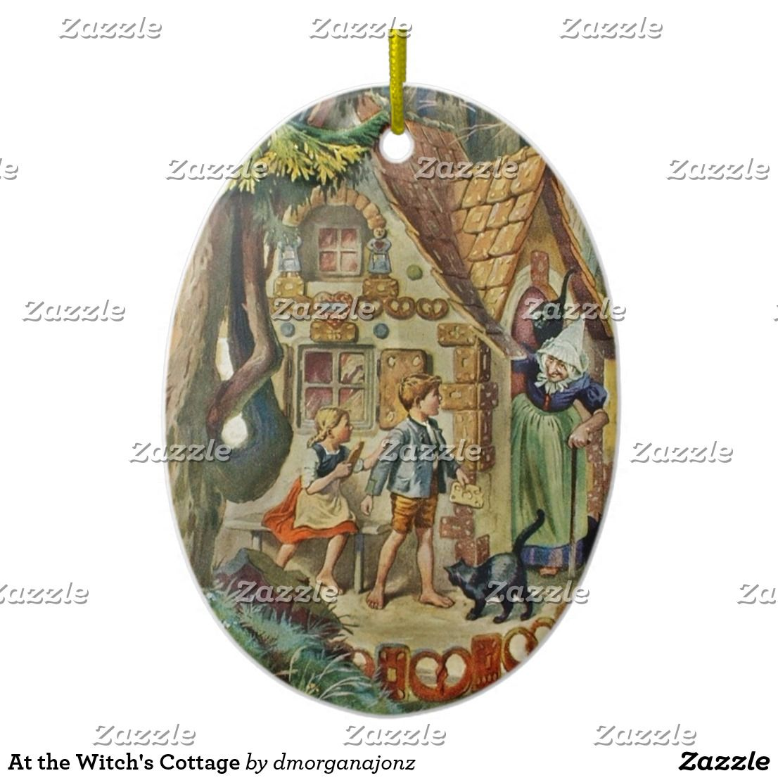 Hansel and Gretel at the Witch Cottage Ceramic Ornament | Zazzle.com #witchcottage