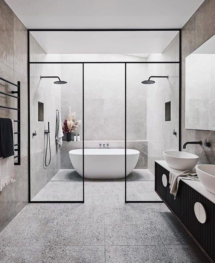 Bathroom Zoning With Plexiglass Screens In 2020 Bathroom Decor Luxury Modern Bathroom Design Bathroom Interior Design
