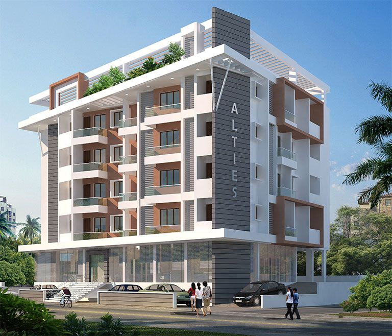 Modern Apartment Building Elevation Design : Kalakunja road kodialbail mangalore abish alties