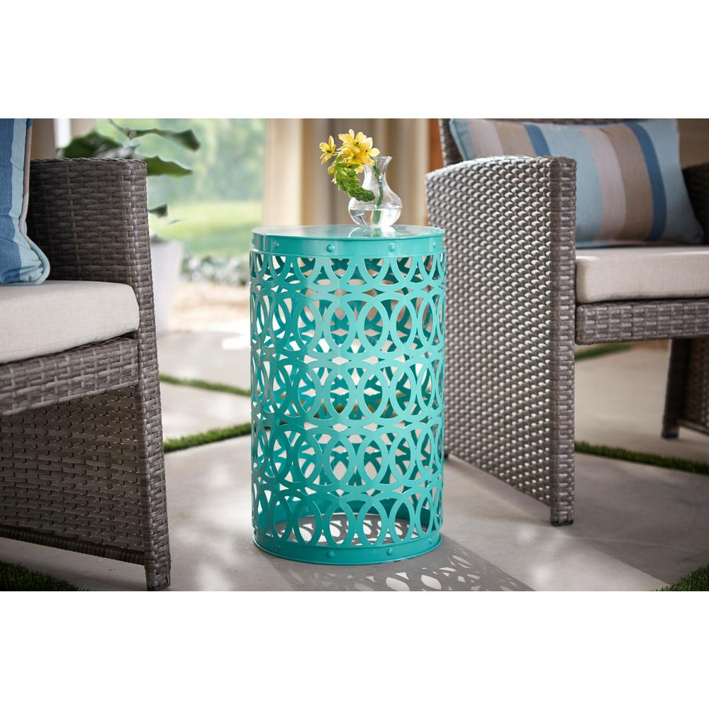 Hampton Bay 19 4 In Haze Teal Blue Metal Outdoor Patio Garden