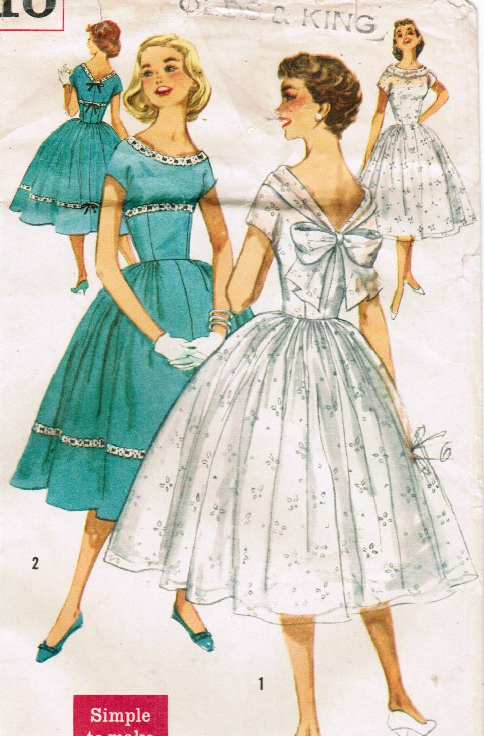 S simplicity vintage sewing pattern junior miss size