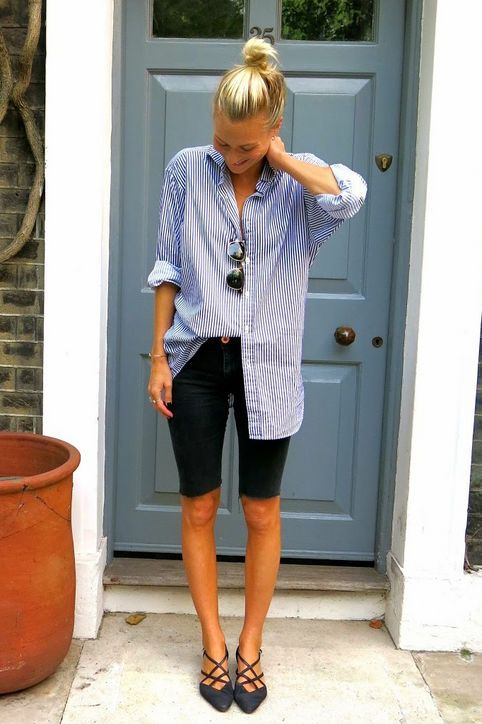 52b5a6a3b4 Transform an old pair of skinny jeans into knee-length shorts that are on  the tighter side. Balance the fit with an oversize button-down and flats to  create ...