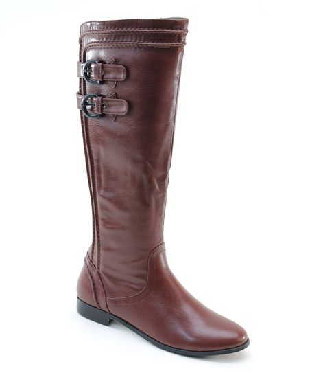 Burgundy Strapped Riding Boot