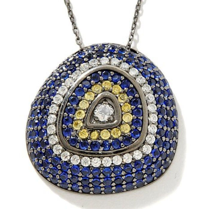"""HSN CZ & Gemstone Sterling Silver Pave Set Pendant with 16"""" Chain $1190"""