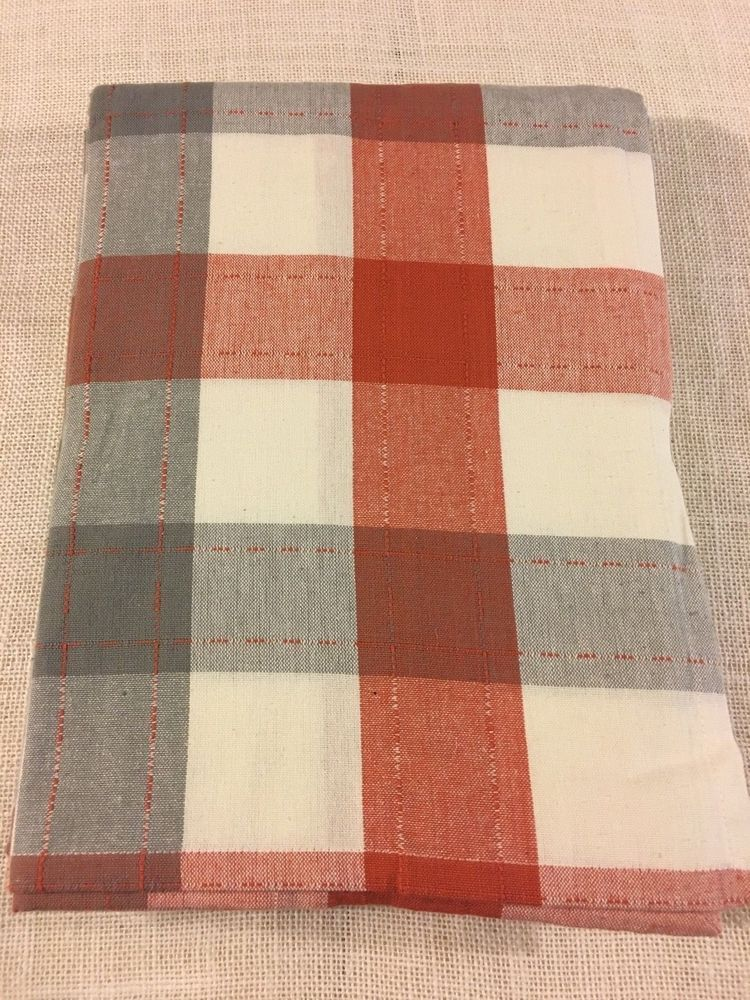 HAYMARKET SQUARE Cotton Rust Cream Gray Plaid Outdoor Tablecloth Sizes NWT  #HaymarketSquare