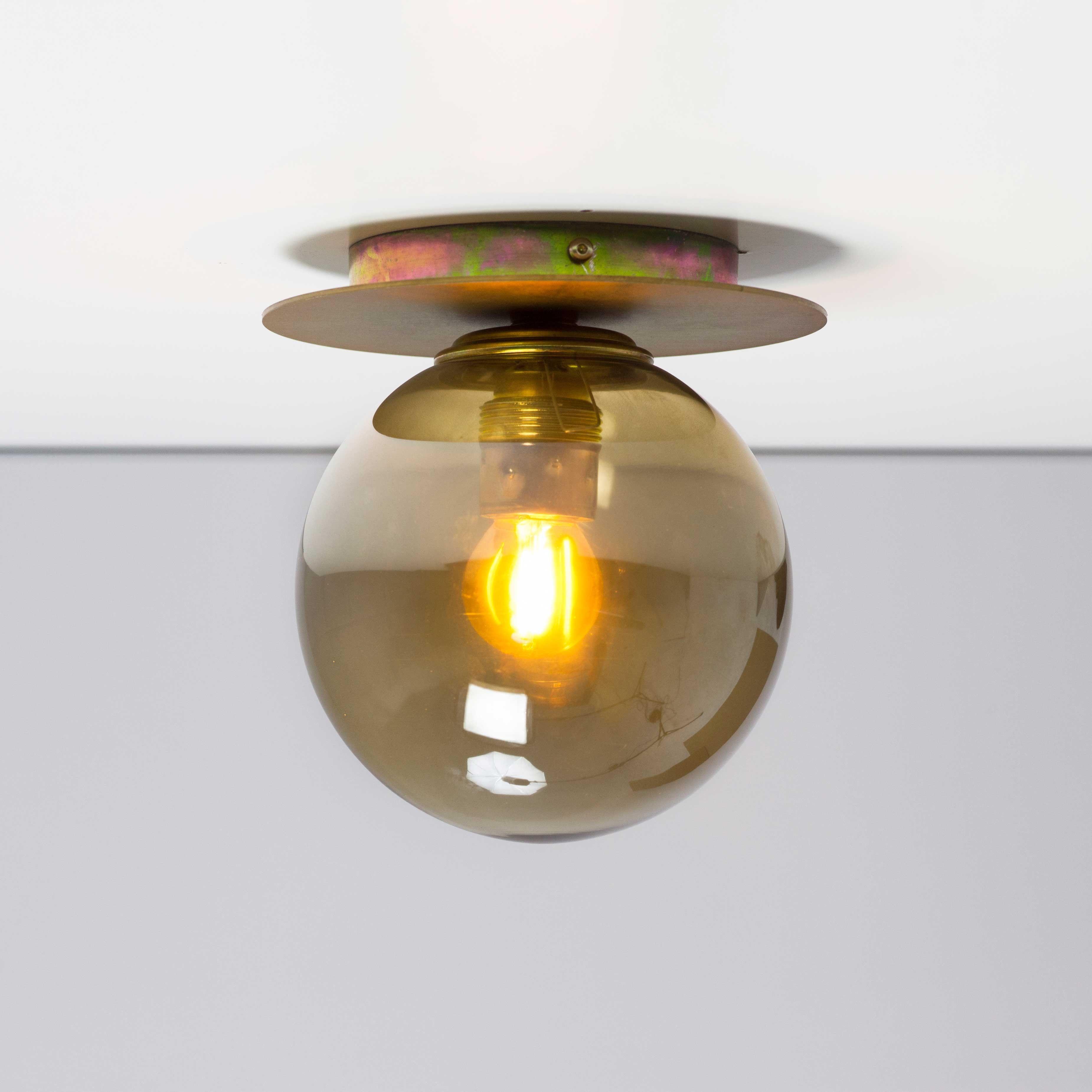 Plaf N Techo Bola 16cm Cristal Transparente Ambar Plafones  ~ Plafones Fluorescentes Para Cocina