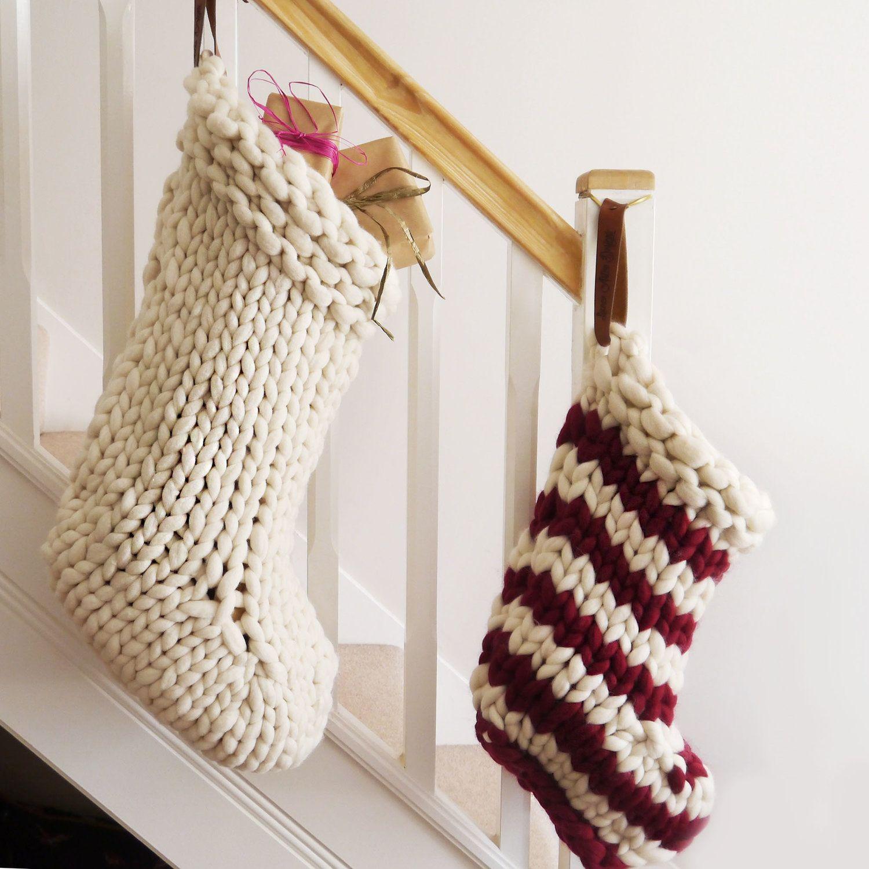 Striped Jumbo Knit Christmas Stocking Lauren Aston Designs I 2020