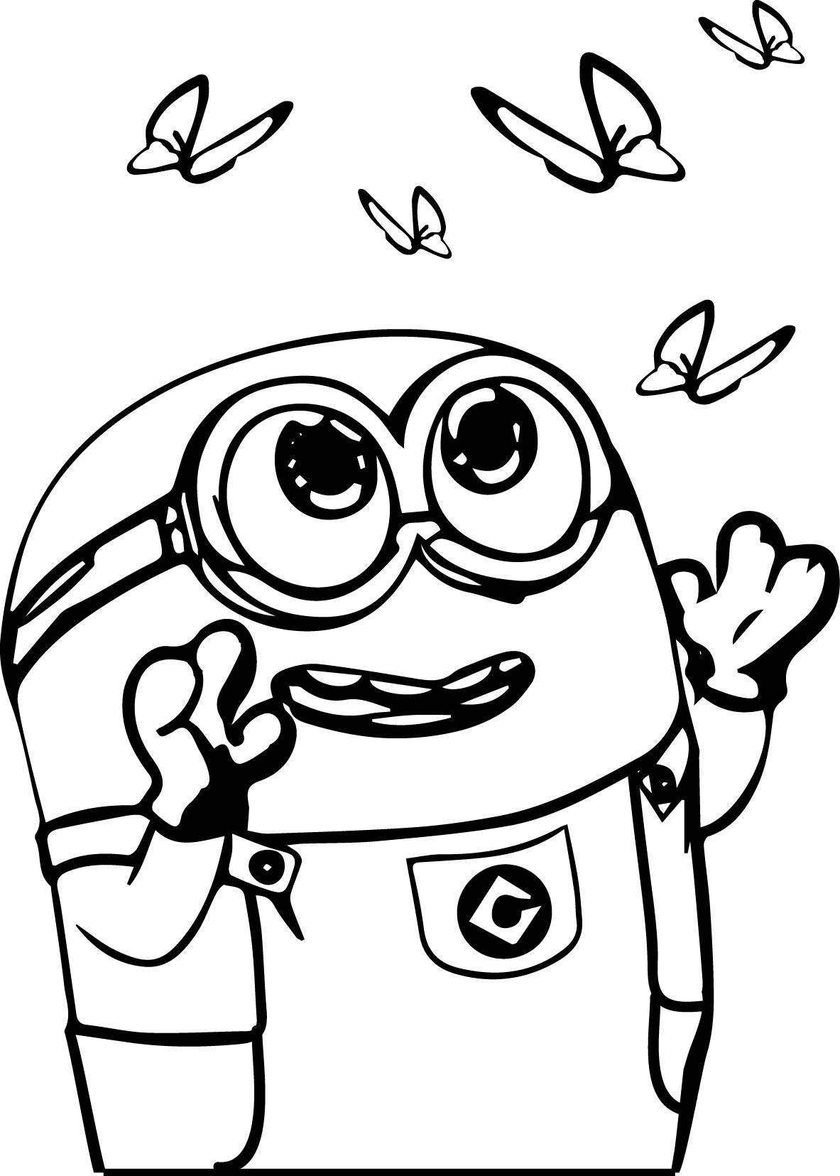 Minion Catch Butterfly Coloring Page