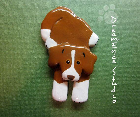 Nova Scotia Duck Tolling Retriever Lookin' Up Pup Pin Artist Hand-made Dog Jewelry Art Brooch E4