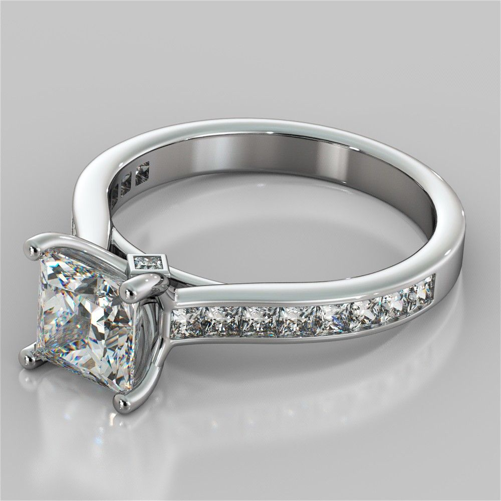 Princess Cut Channel Set Cathedral Style Engagement Ring