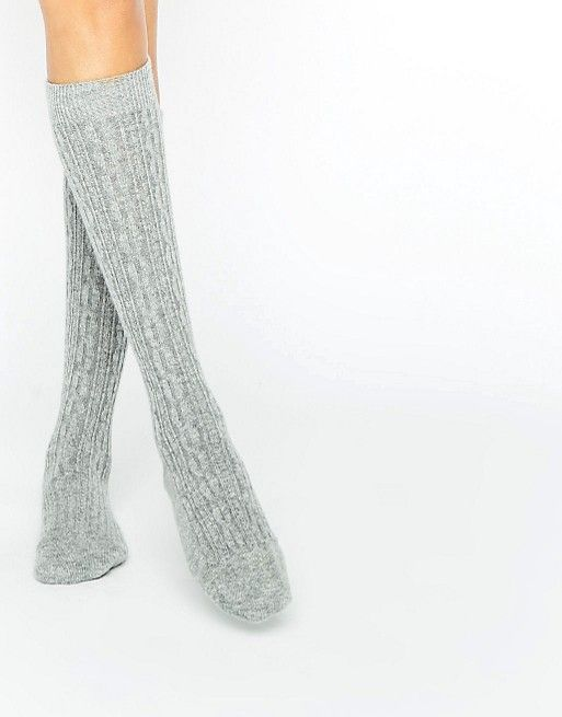 63c560c8e7a Johnstons of Elgin Gray Cashmere Long Cable Socks