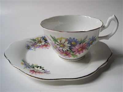 Tea With Friends: A new style of cup and saucer~~Royal Stuart tea and biscuit set.