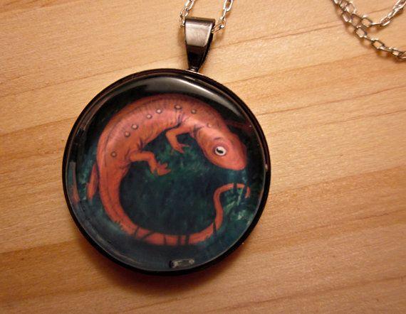 NIFTY NEWT Necklace Original Illustration by ephemeralpillages, $24.00
