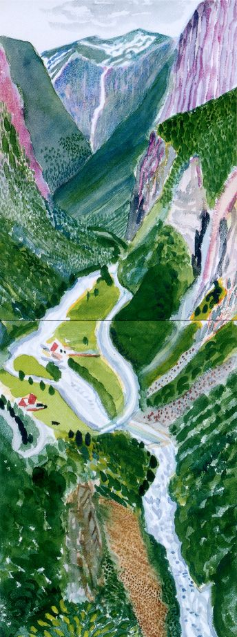 """Nesta obra conseguimos ver que o pintor está a referir-se à natureza mas um pouco abstracta e talvez confusa, usando na mesma as cores """"reais"""" de tudo o que está desenhado. David Hockney utilizava cores fortes, chamativas, todas as suas obras na minha opinião têm algo interessante. The Valley, Stalheim 2002"""