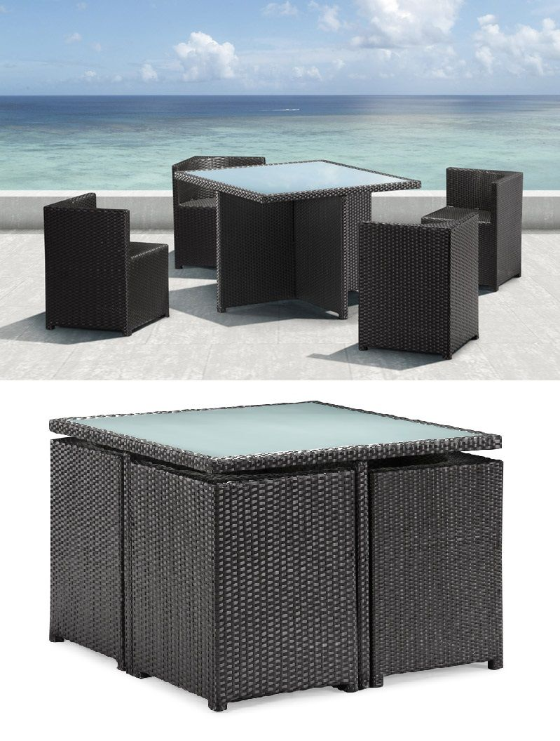 Resistant rattan effect outdoor patio dining set with round table - Furnishing A Small Condo Balcony Without Sacrificing Style Comfort