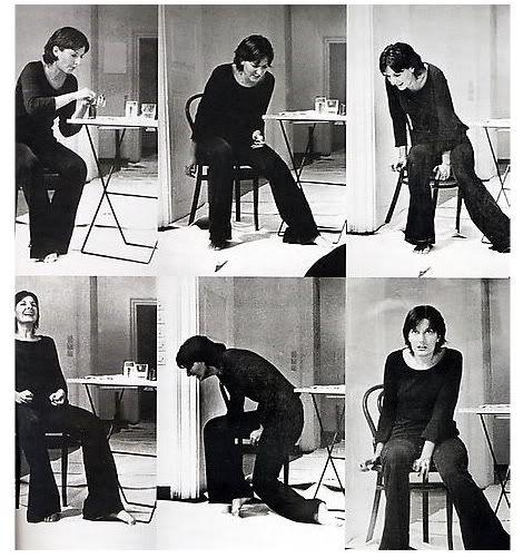 Rhythm 2 by Marina Abramovic, circa 1974 (via mikkipedia