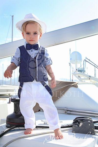 5ff7a641ecd Βαπτιστικά ρούχα για αγόρι της Stova Bambini μοντέρνο σετ λευκό παντελόνι  με μπλε γιλέκο και σιελ πουα πουκάμισο