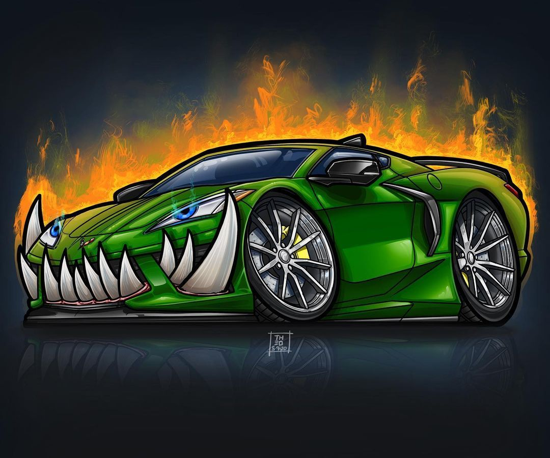 Brian Theodore On Instagram Corvette C8 My Boys Will Love This Sticker Want Your Car Drawn Up Dm Me For Pricing In 2021 Corvette Car Cartoon Car