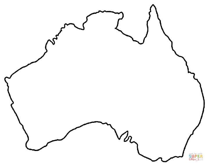 Outline map of australia super coloring tats for Australia map coloring page