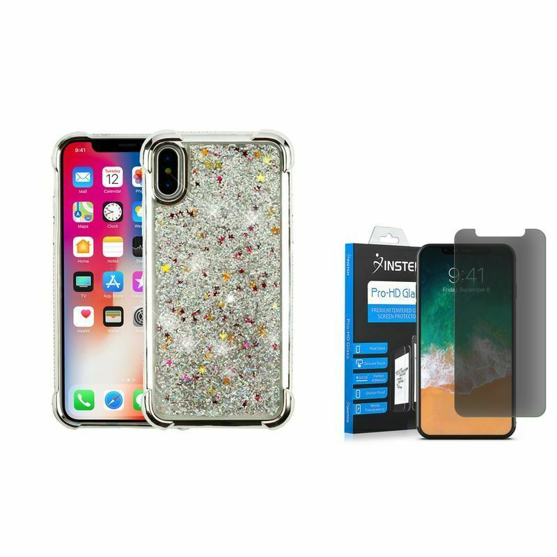 36a798d9a3 For Apple iPhone XS X Glitter Case Silver w/ Glass Privacy Screen Protector  - Glitter Case Iphone - $16.09 End Date: Thursday Mar-28-2019 22:41:29 PDT  Buy ...