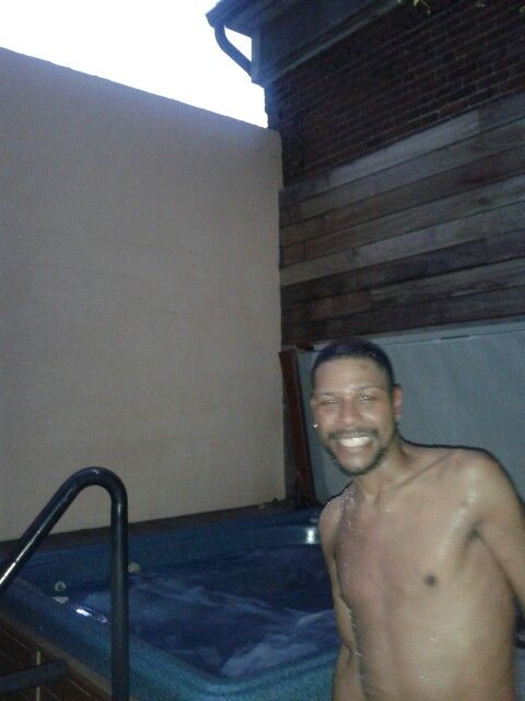 My husband out the hot tub waiting to go in for hour full body massage with  the wife