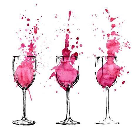Ilustración Vino - boceto y estilo de arte
