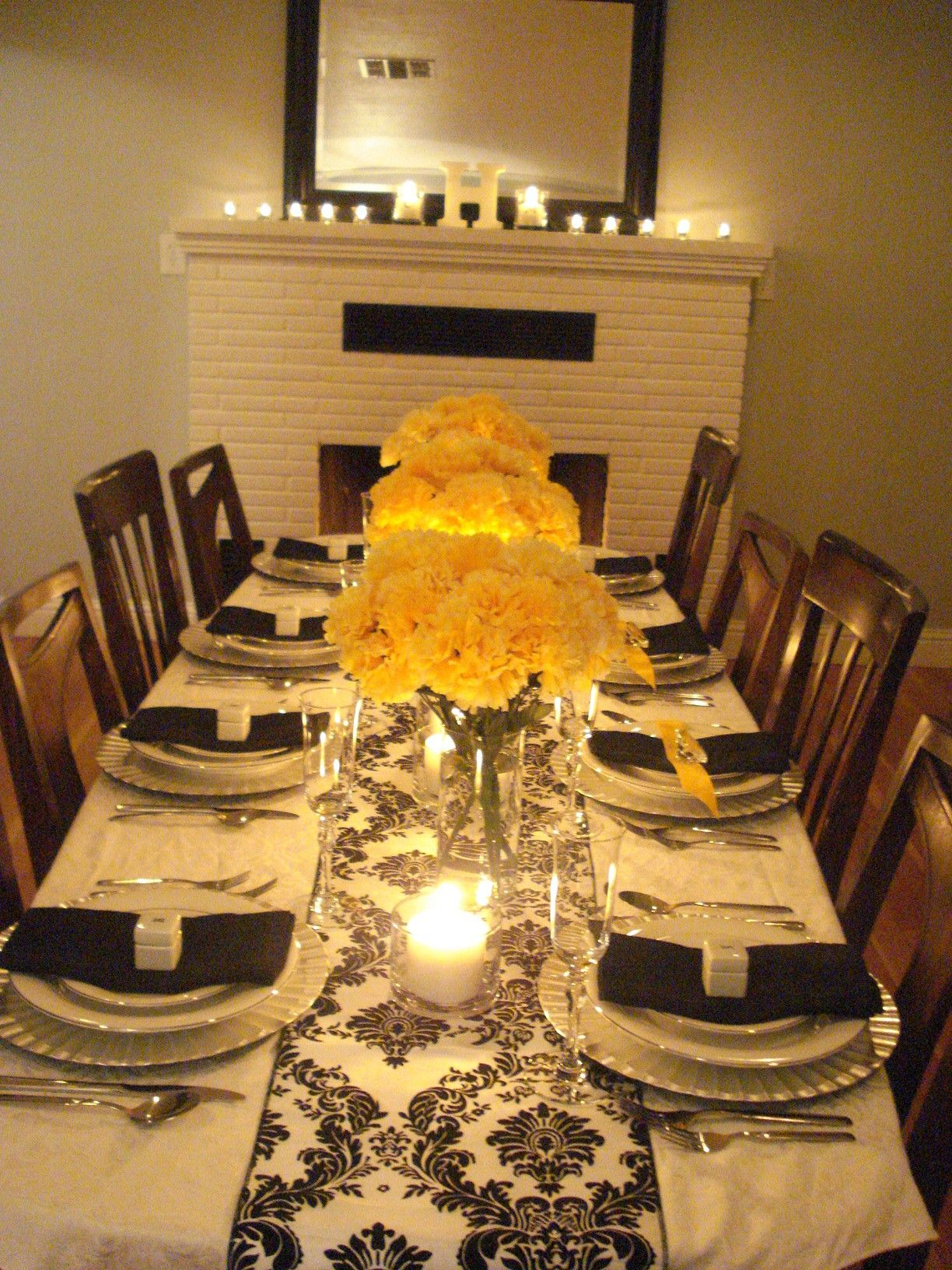 Black White And Yellow Anniversary Party Dinner Party Table
