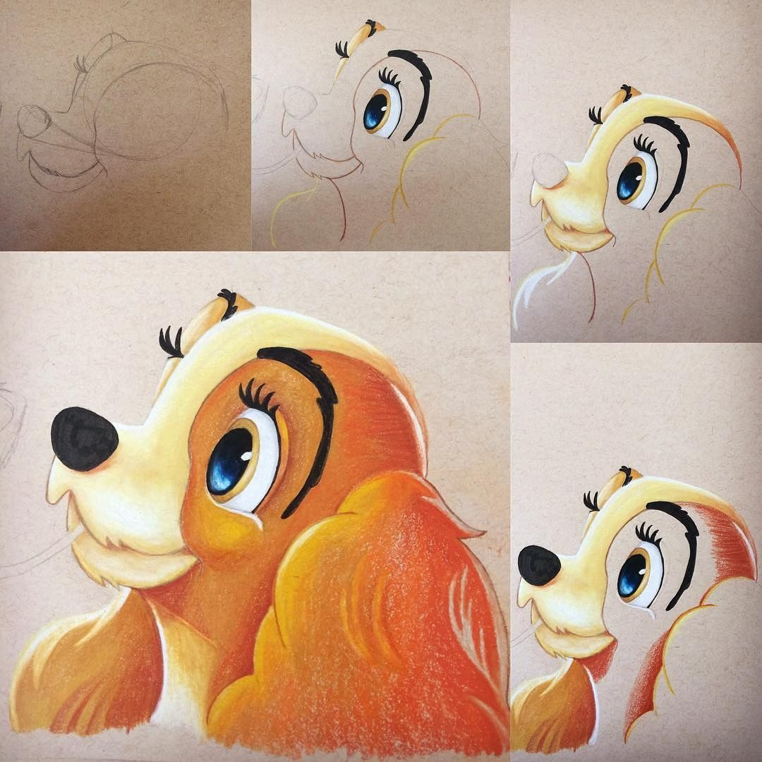 Lady And The Tramp Colorful Disney Disney Character Drawings