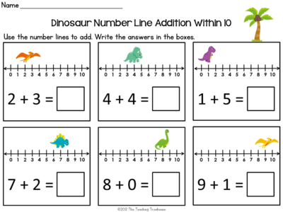 dinosaur number line addition subtraction within 10 classroom math adding subtracting. Black Bedroom Furniture Sets. Home Design Ideas