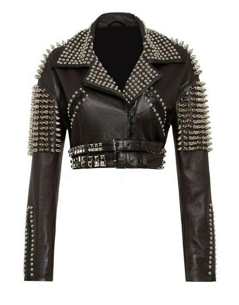 New Women Punk Black Full Silver Spiked Studded Cowhide Biker Leather Jacket Https Ift Tt 3cc8opb Studded Leather Jacket Leather Jacket Real Leather Jacket [ 1019 x 800 Pixel ]