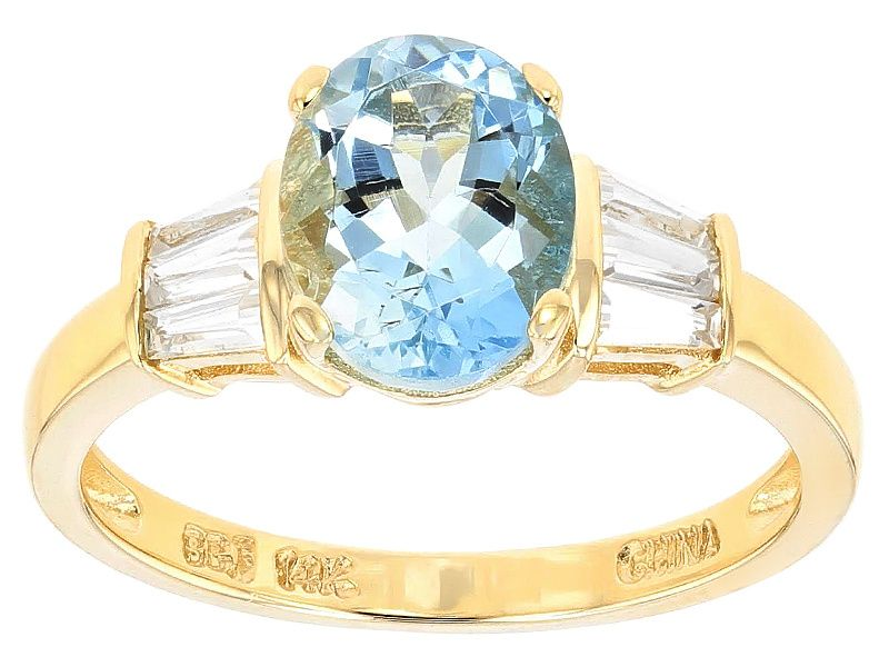 1.85ct Oval Brazilian Aquamarine And .45ctw Tapered Baguette White Zircon 14k Yellow Gold Ring