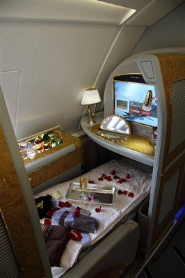 Oh yes dahhhling pass the champagne please...First Class Cabin, Emirates