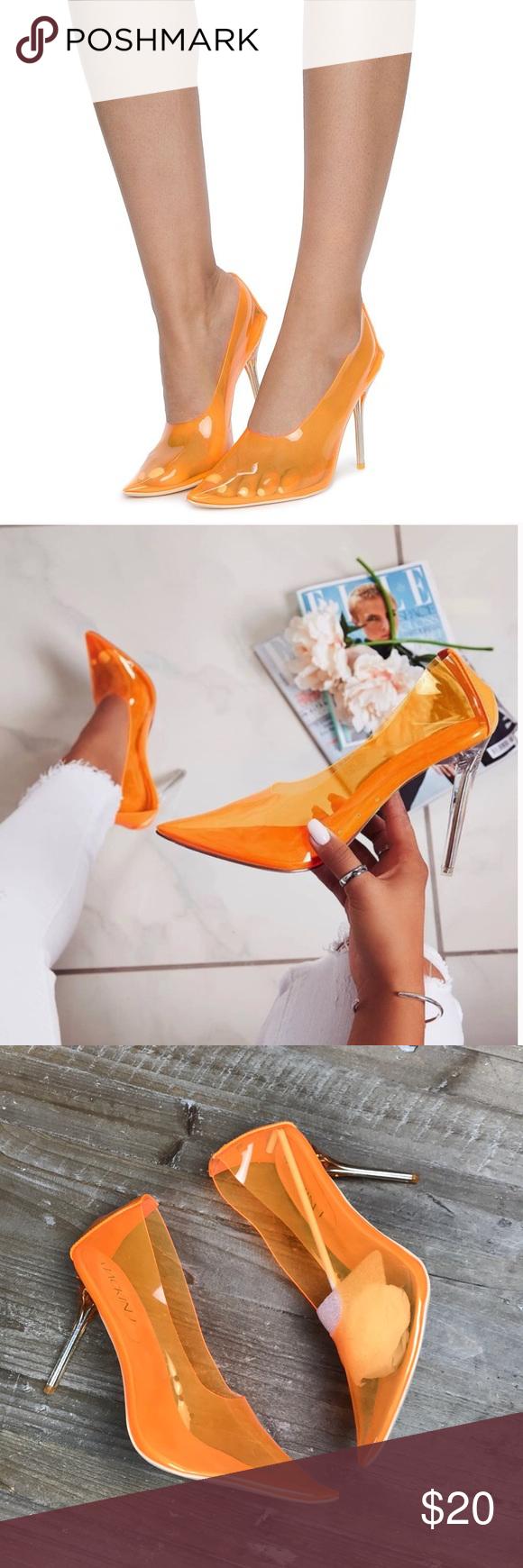 clear Orange transparent stiletto heels