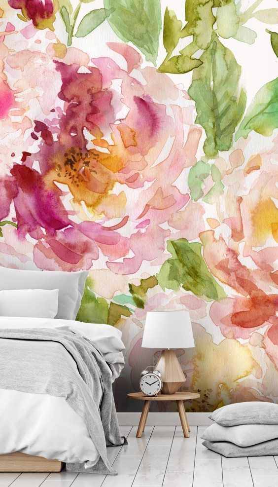 Best Bold And Beautiful Floral Watercolor Wallpaper Bedroom 640 x 480