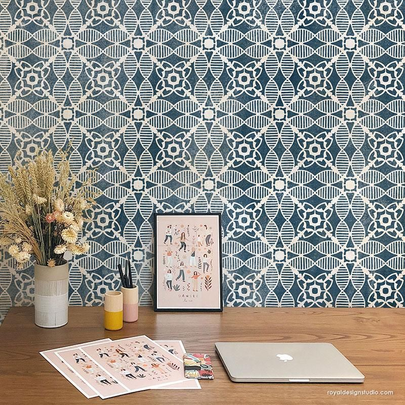 Create The Look Of Faux Ceramic Subway Tiles In Your Bathroom Or On A Kitchen Backsplash By Painting Your Walls Wit In 2020 Tile Stencil Stenciled Floor Tile Floor Diy
