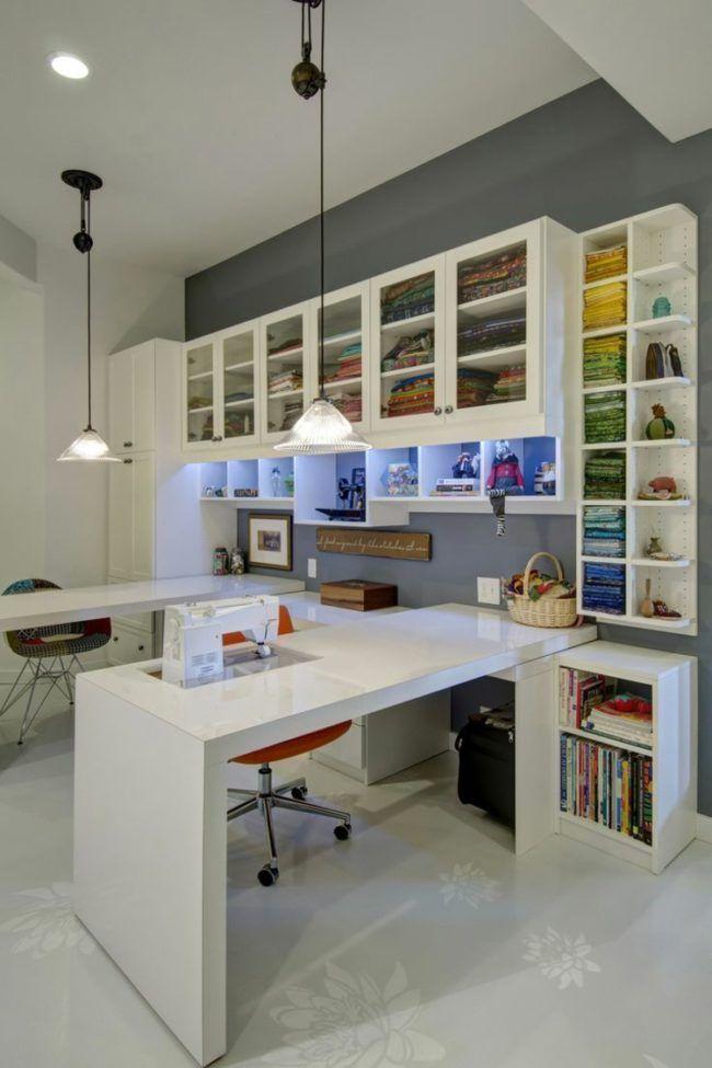 N hzimmer einrichten minimalistisch hochglanz zuschneidetisch n htisch b ro arbeitsplatz - Minimalistisch einrichten ...