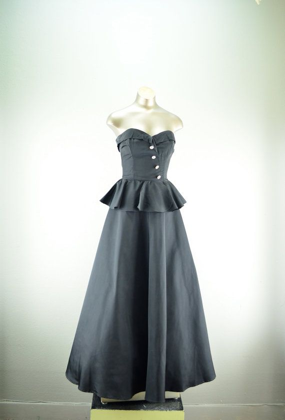 1940s black gown 50s formal dress Size x