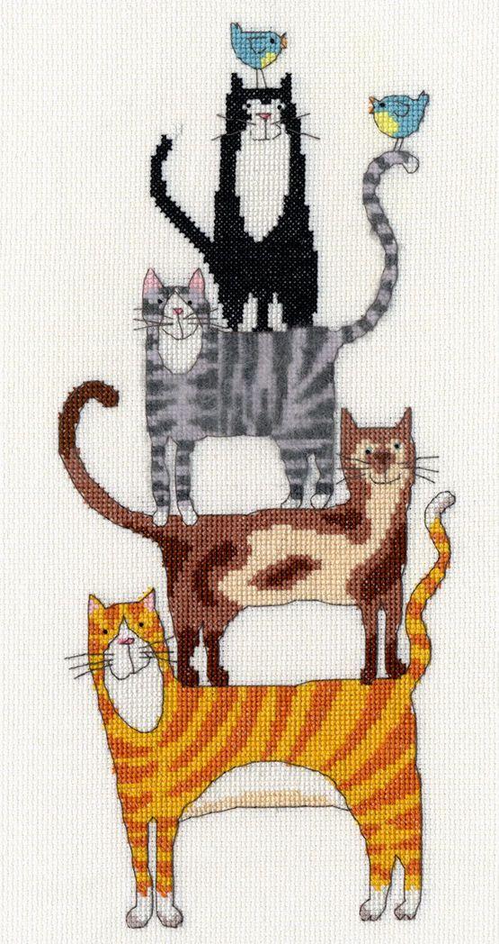 Cat Stack Cross Stitch Kit Кошачий узор, Детские
