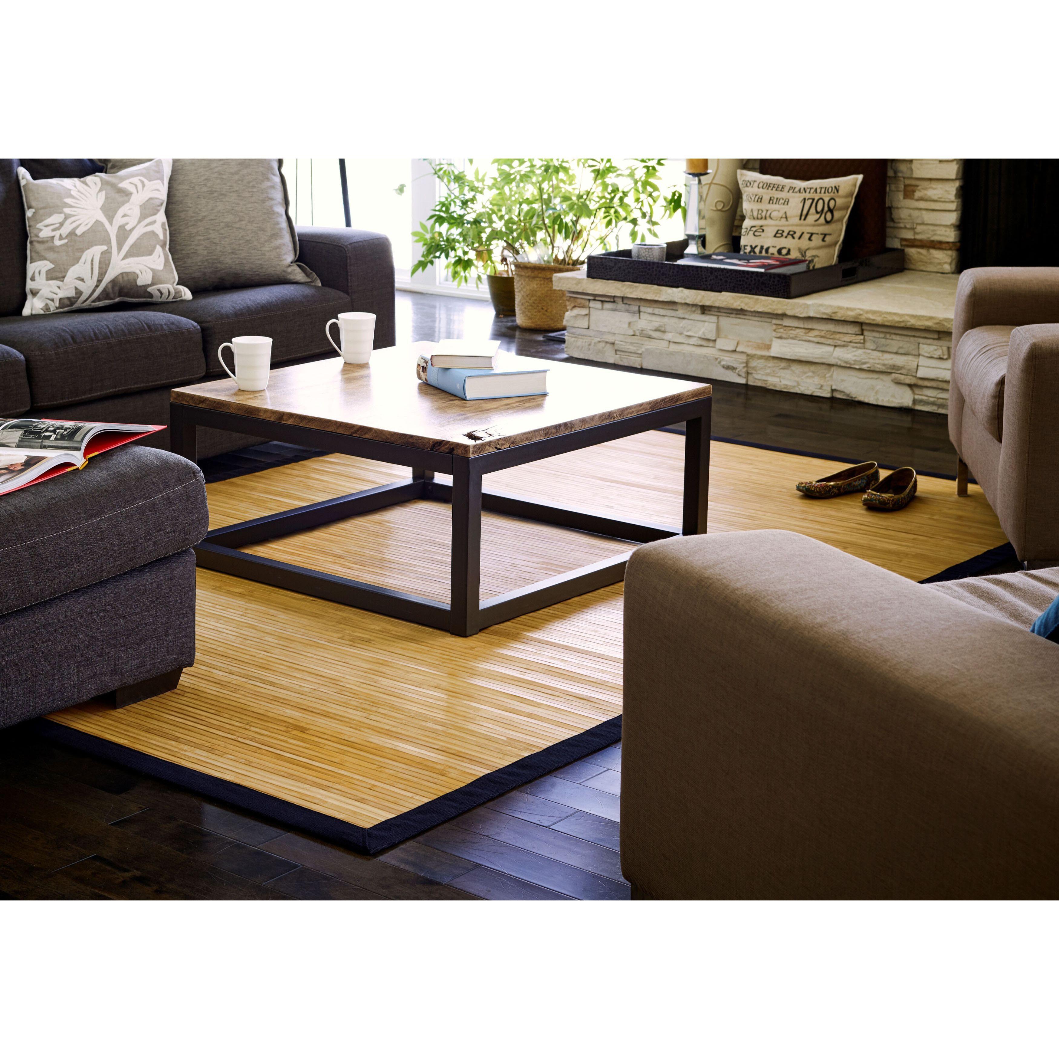 jani namaste bamboo rug with black border (5' x 8'), beige, size 5